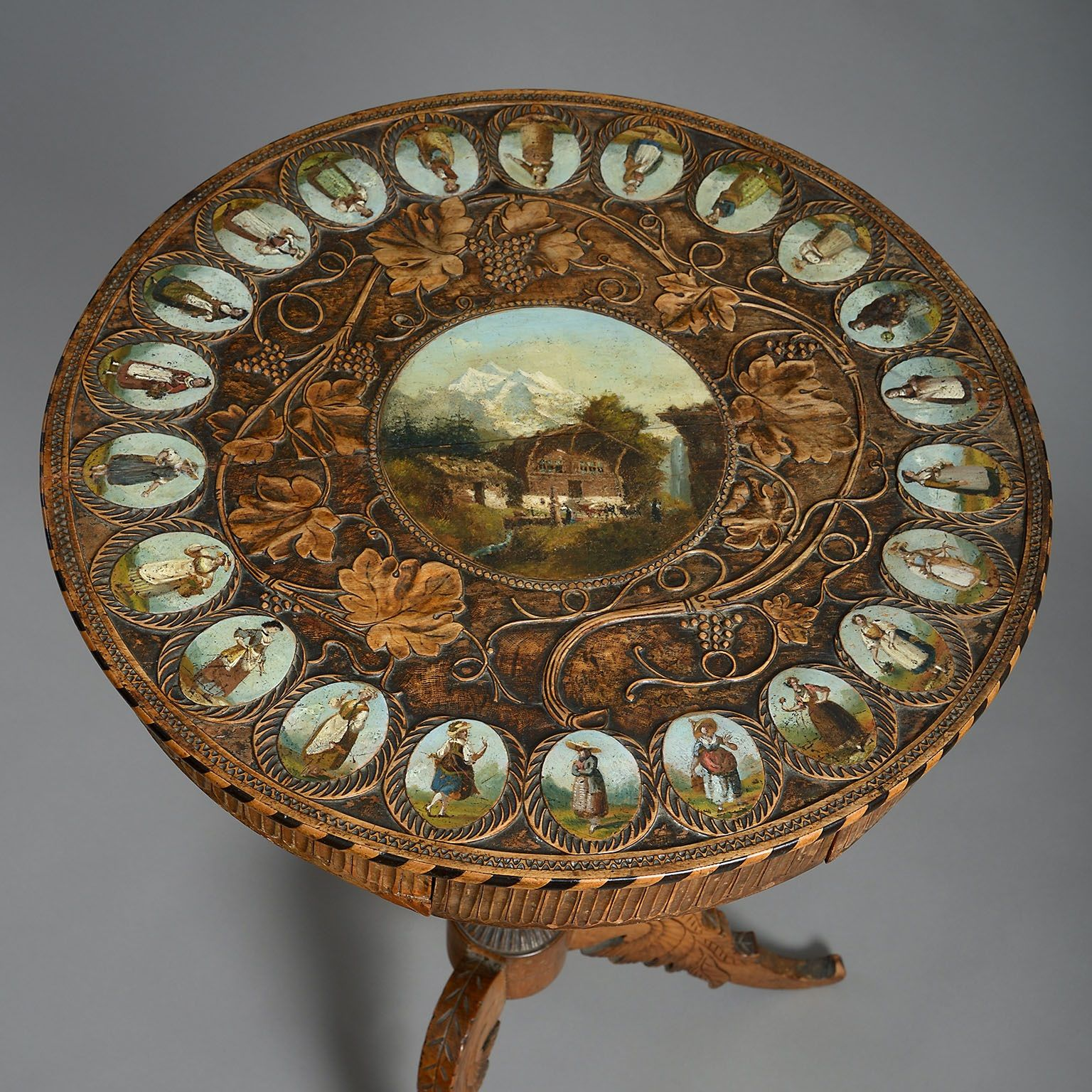 A Swiss Painted and Carved Table