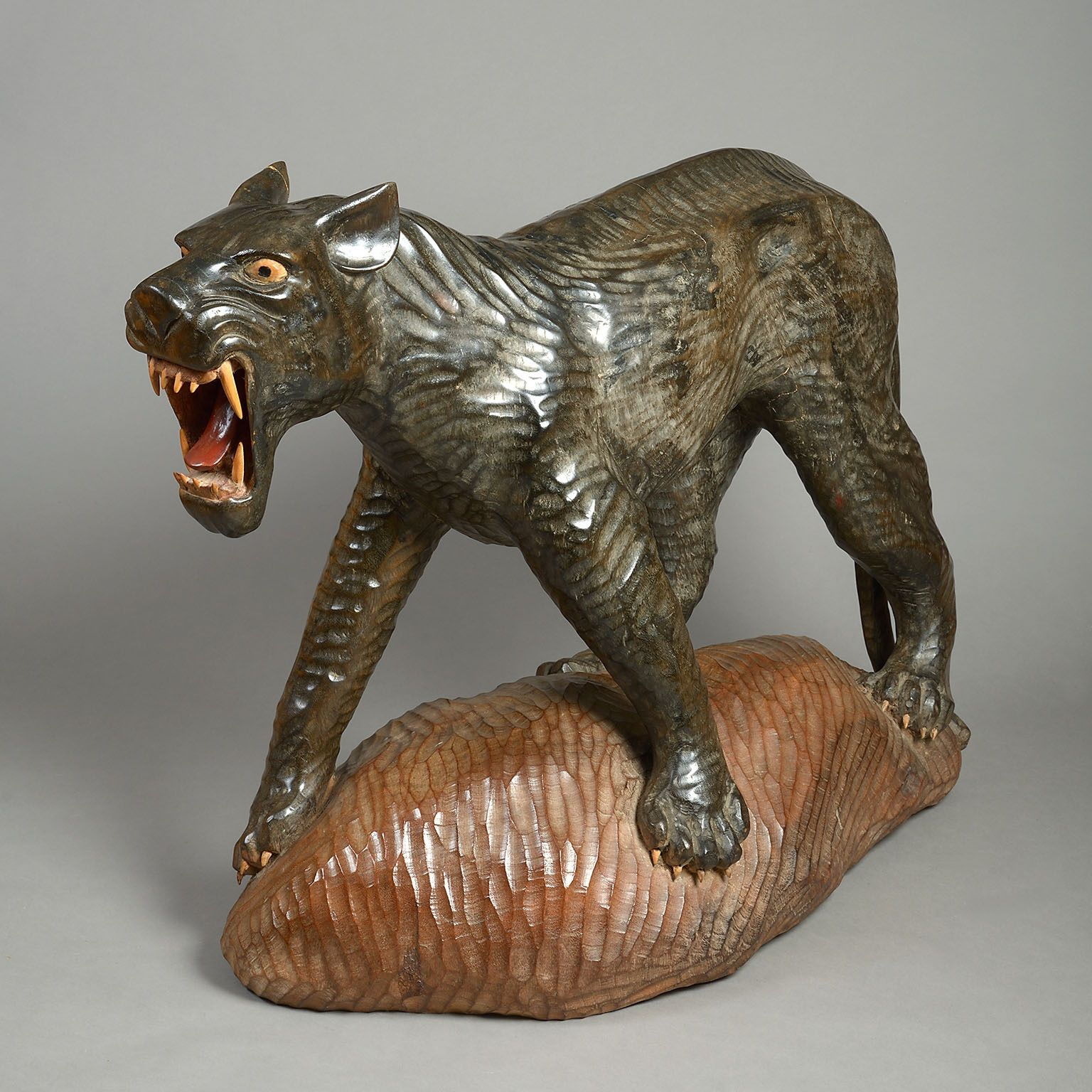 Carved and Polychrome Model of a Black Leopard