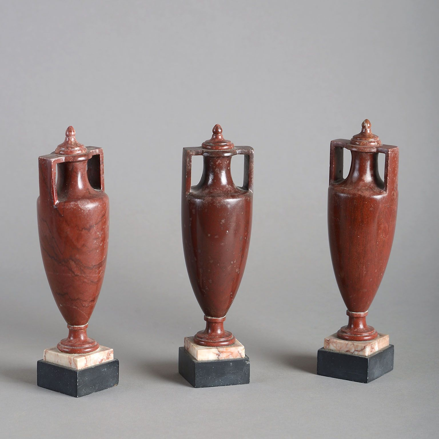 Set of Three Grand Tour Rosso Antico Urns