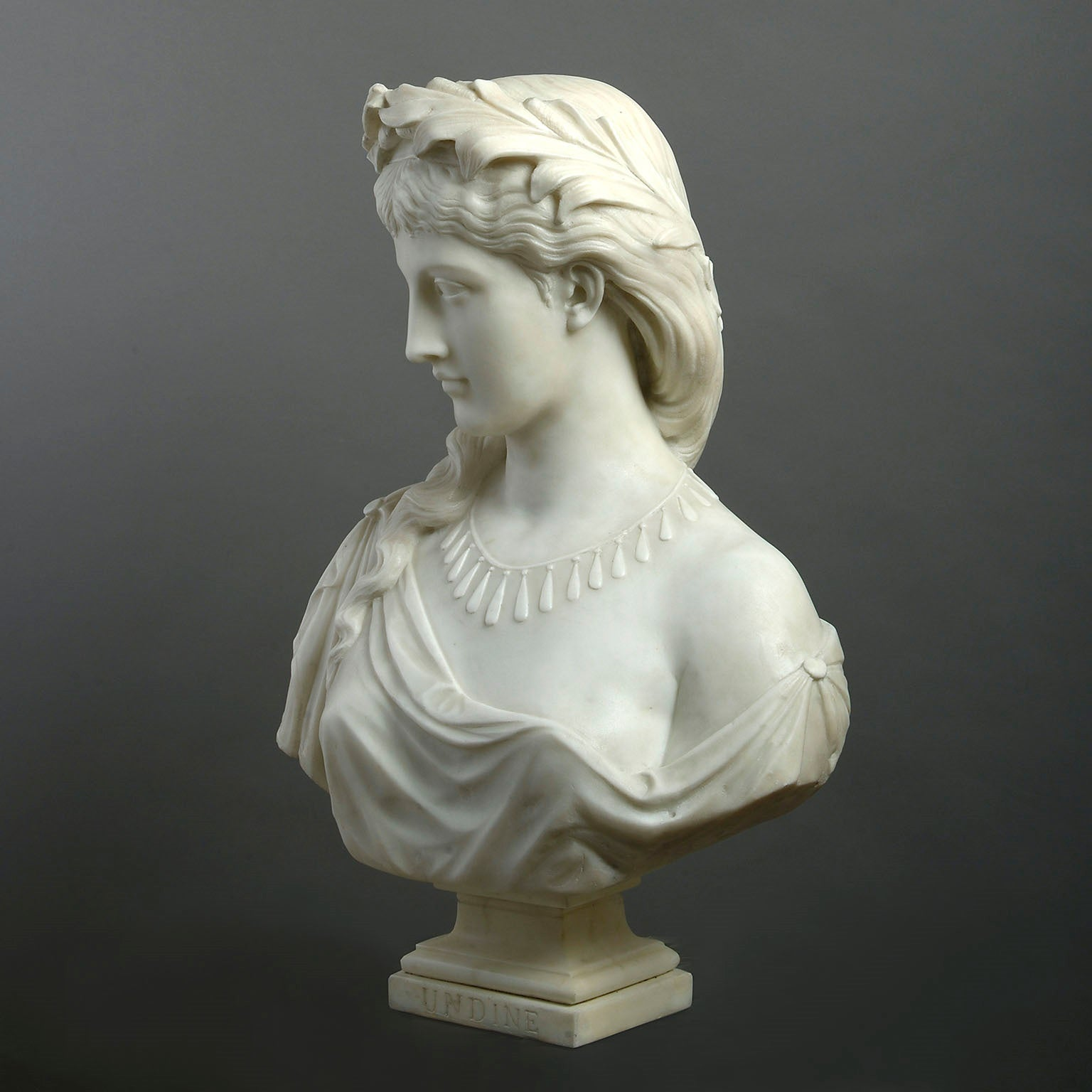 White Marble Bust of 'Undine'  by Henry Garland RA