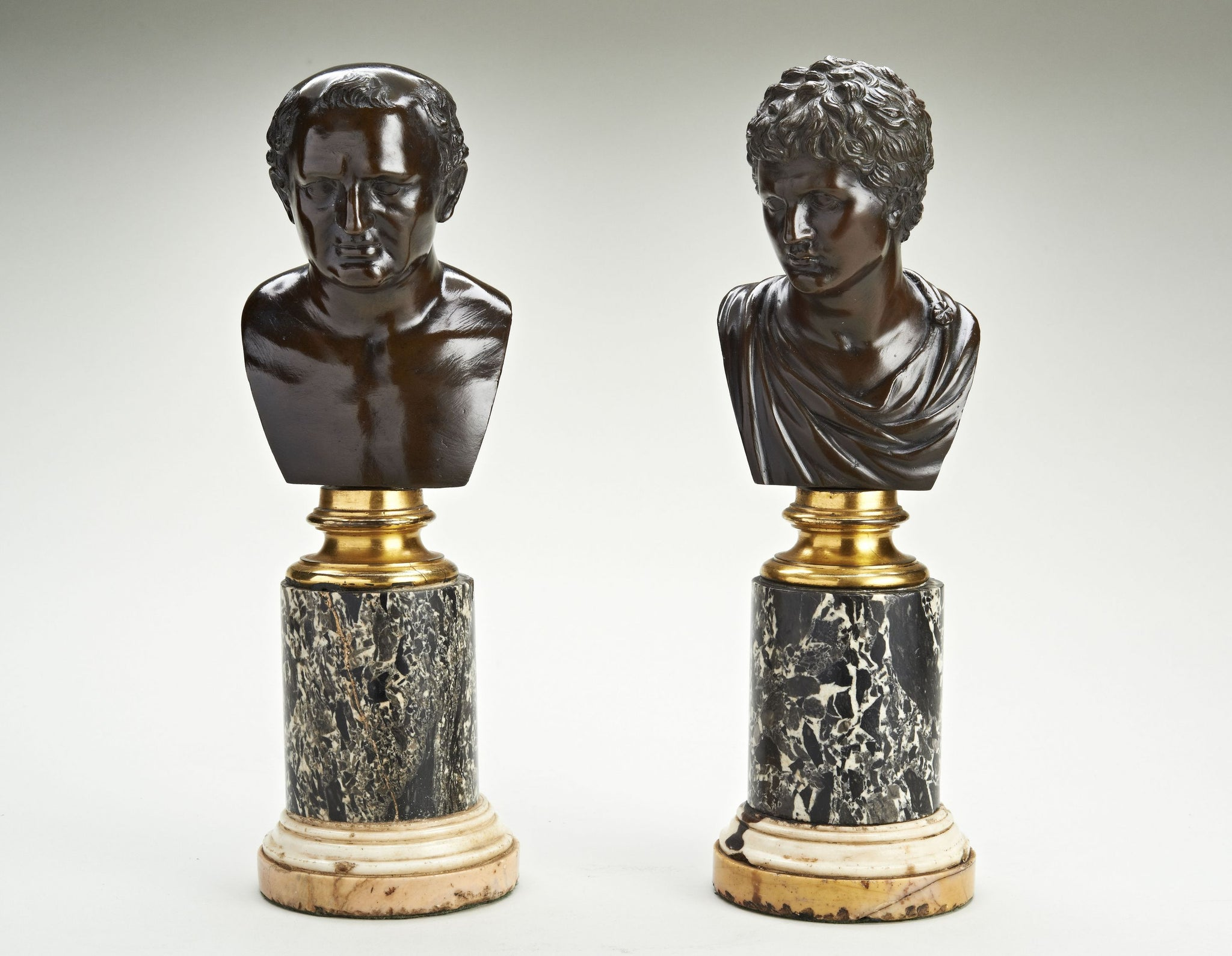 Pair of Grand Tour Bronze Busts of Emperors