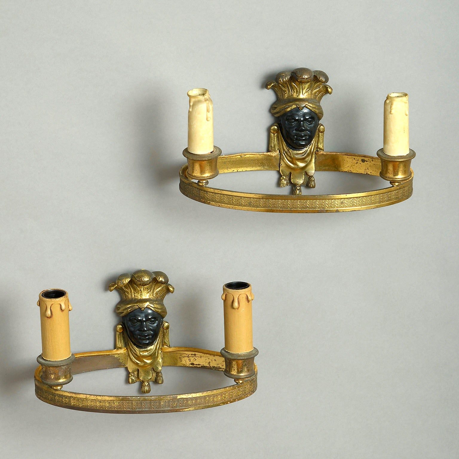 Pair of Empire Gilt-Bronze Wall Sconces with Bronzed Masks