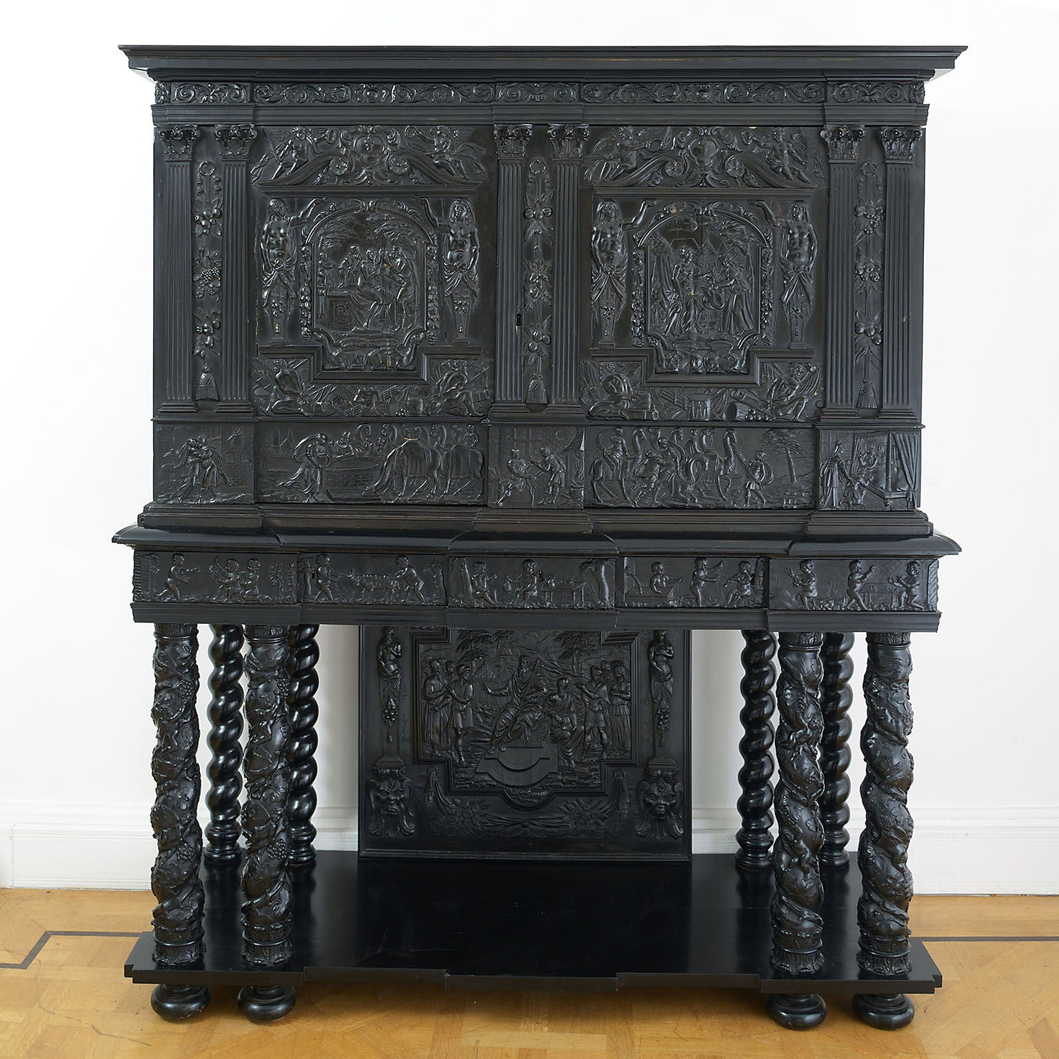 Louis XIV Carved Ebony, Fruitwood, Kingwood and Bone Inlaid Cabinet of Museum Interest