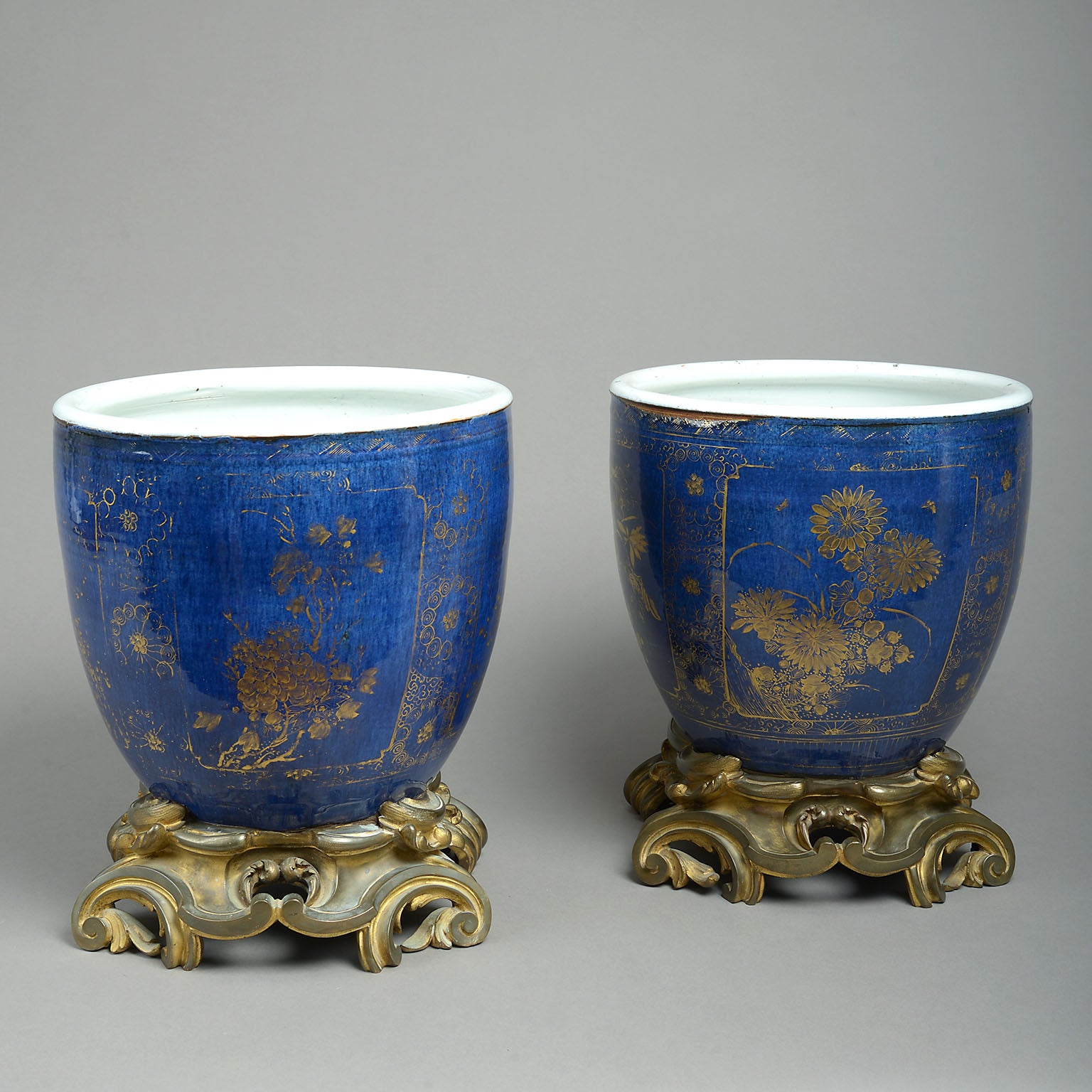Pair of Chinese Powder Blue Gilt Decorated Vases