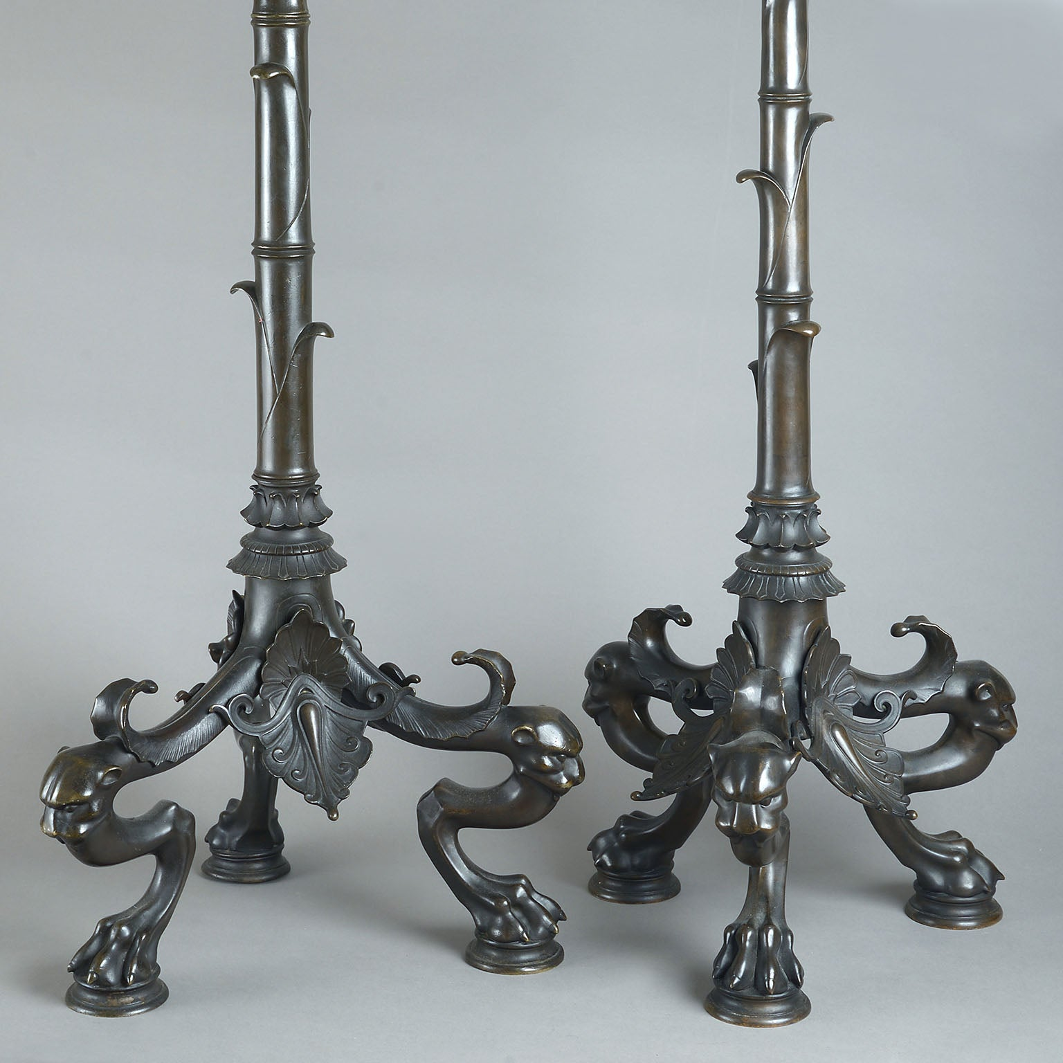 Matched Pair of Neo-Classical Bronze Torcheres