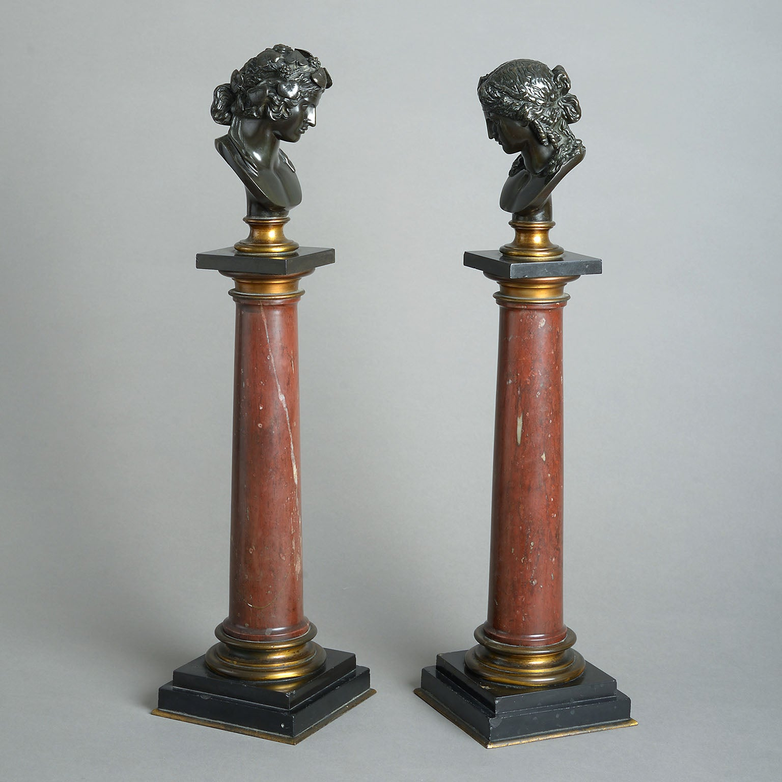 Pair of Grand Tour Busts on Marble Columns
