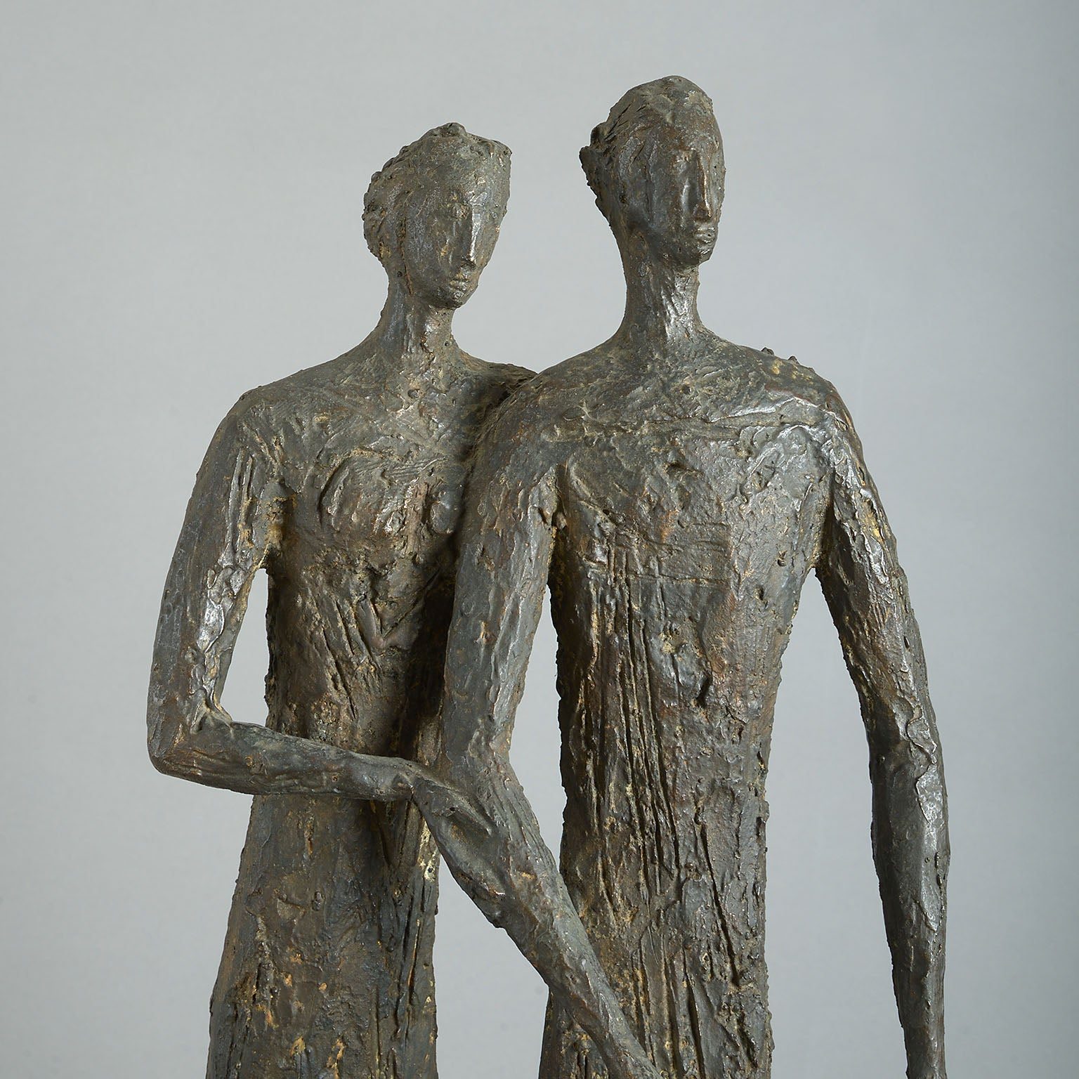 Jean-Marie Collet (b.1941-) Bronze Group of a Standing Man & Woman