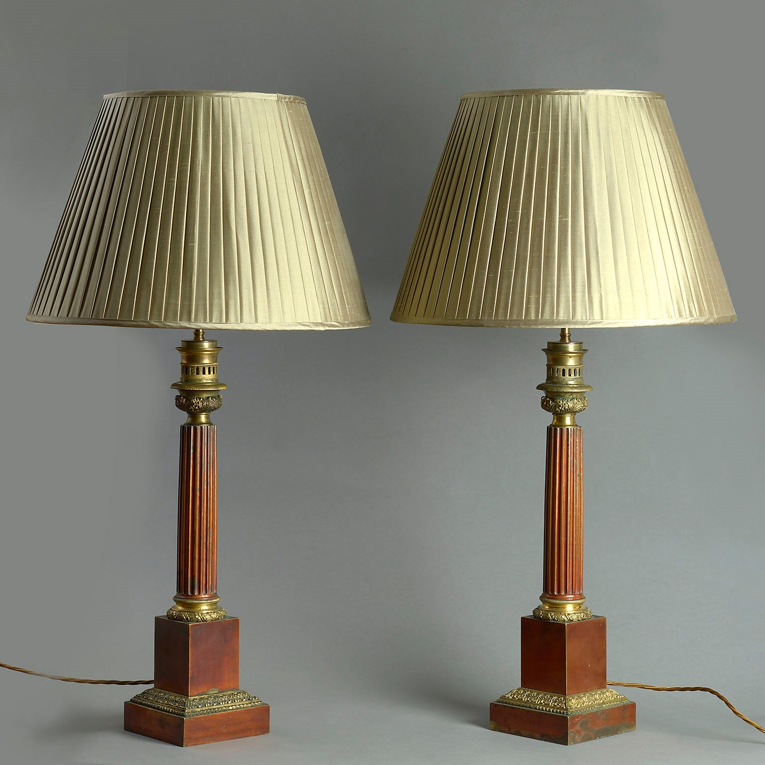 Pair of Red Lacquer Fluted Column Lamps