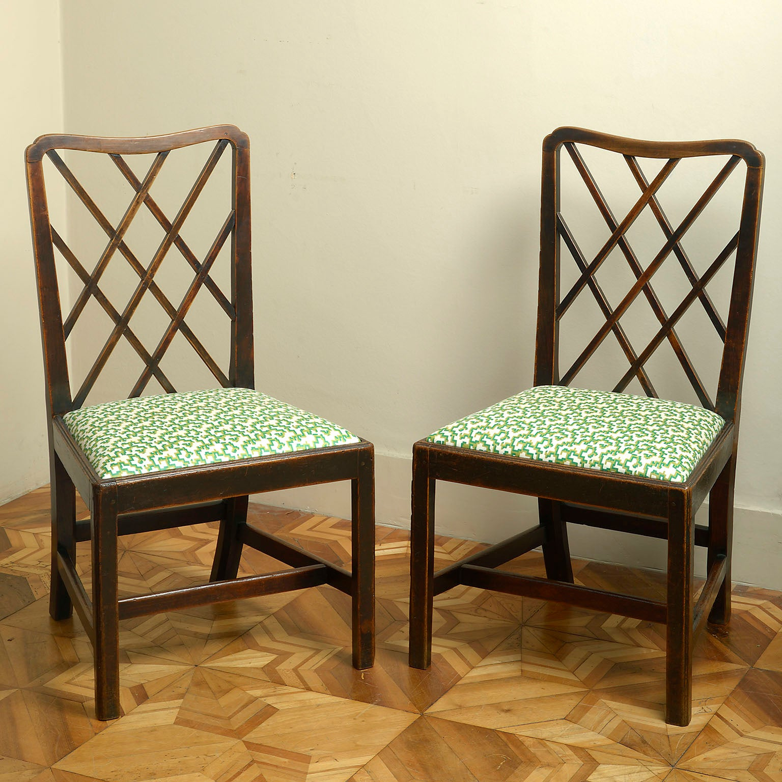 Pair of Early George III Fruitwood Side Chairs