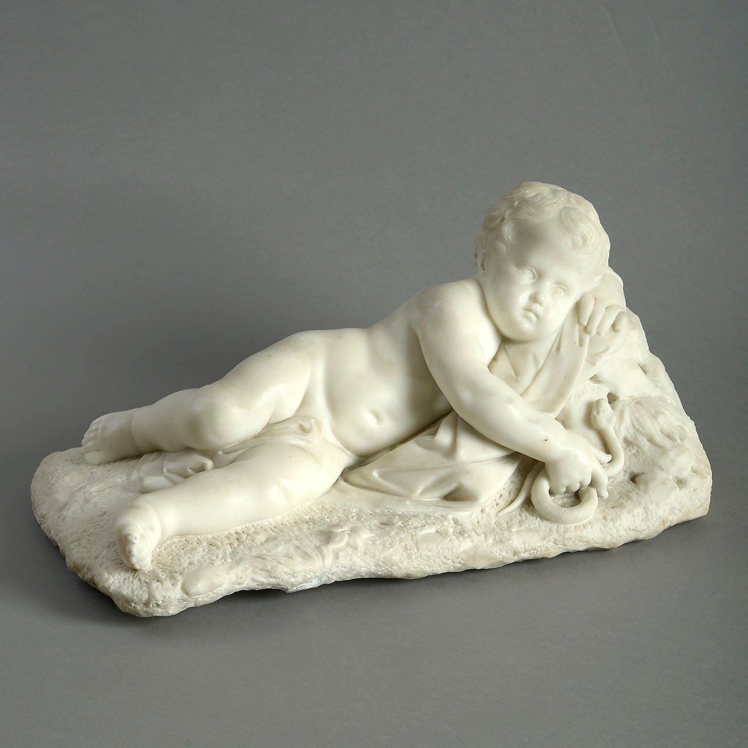 White Carrara Marble Figure of  Putto with a Serpent