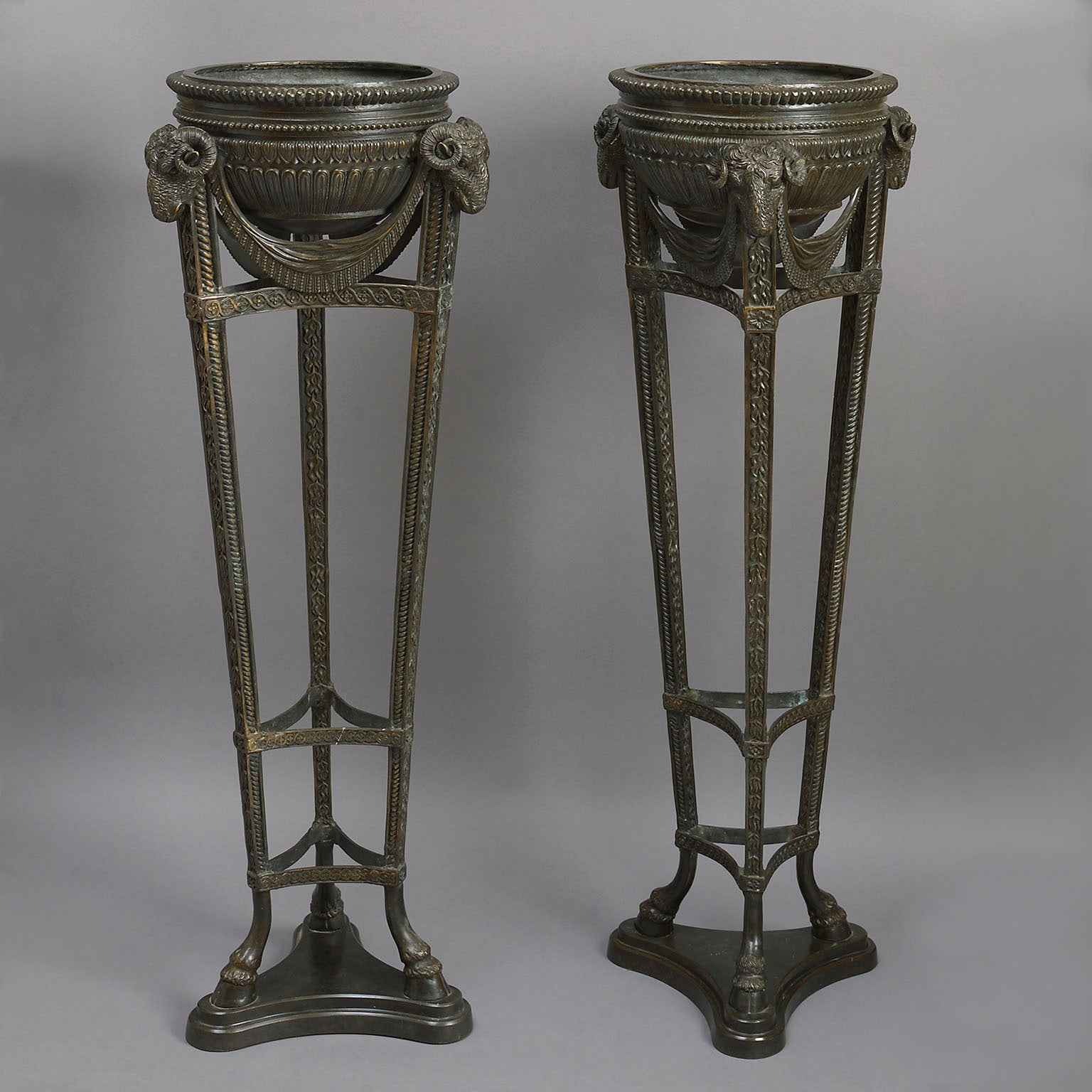 Pair of Neo-Classical Bronze Jardinieres