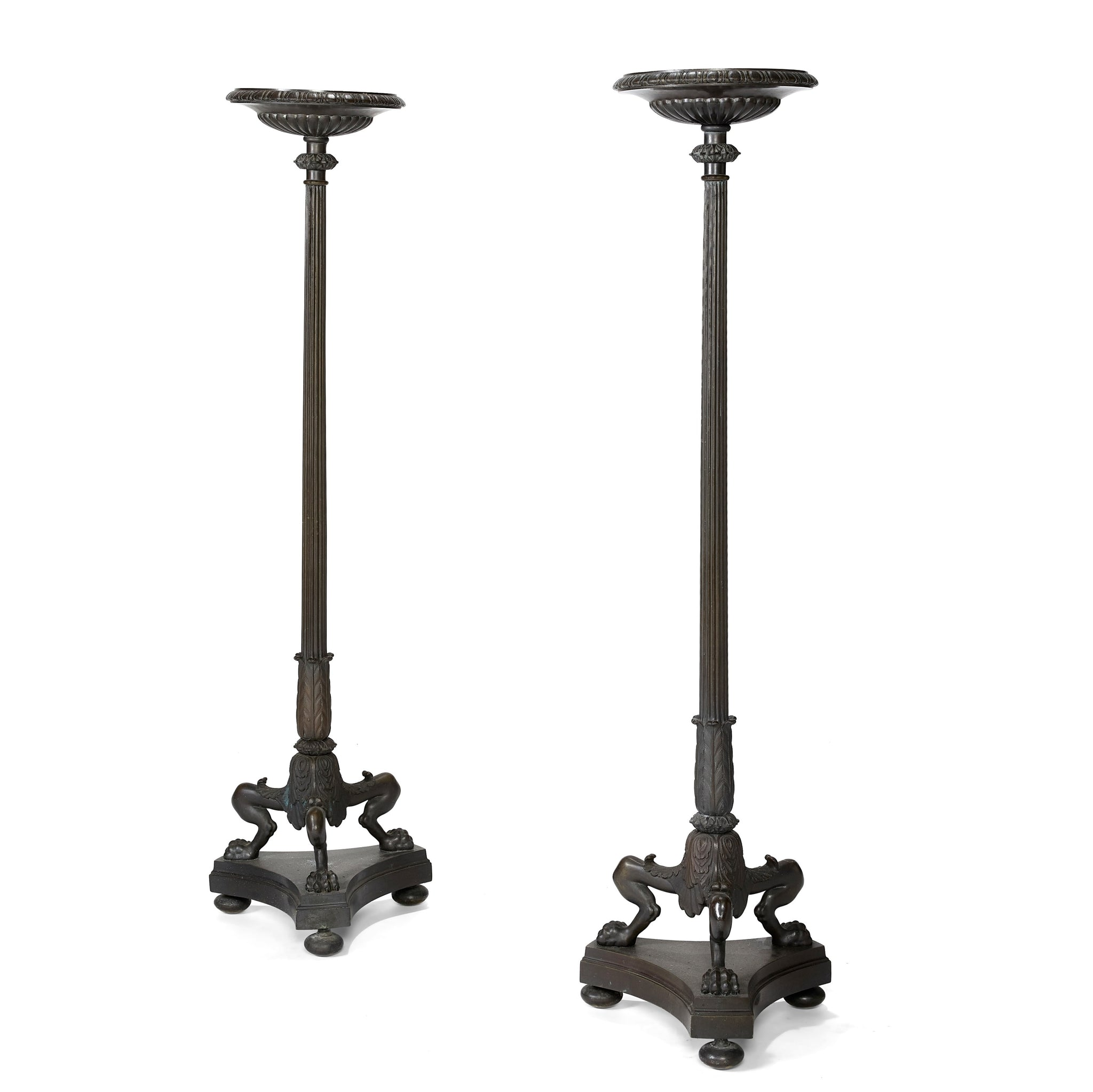 Pair of Bronze Floor Standing Caldelabri in the Manner of Thomas Hope