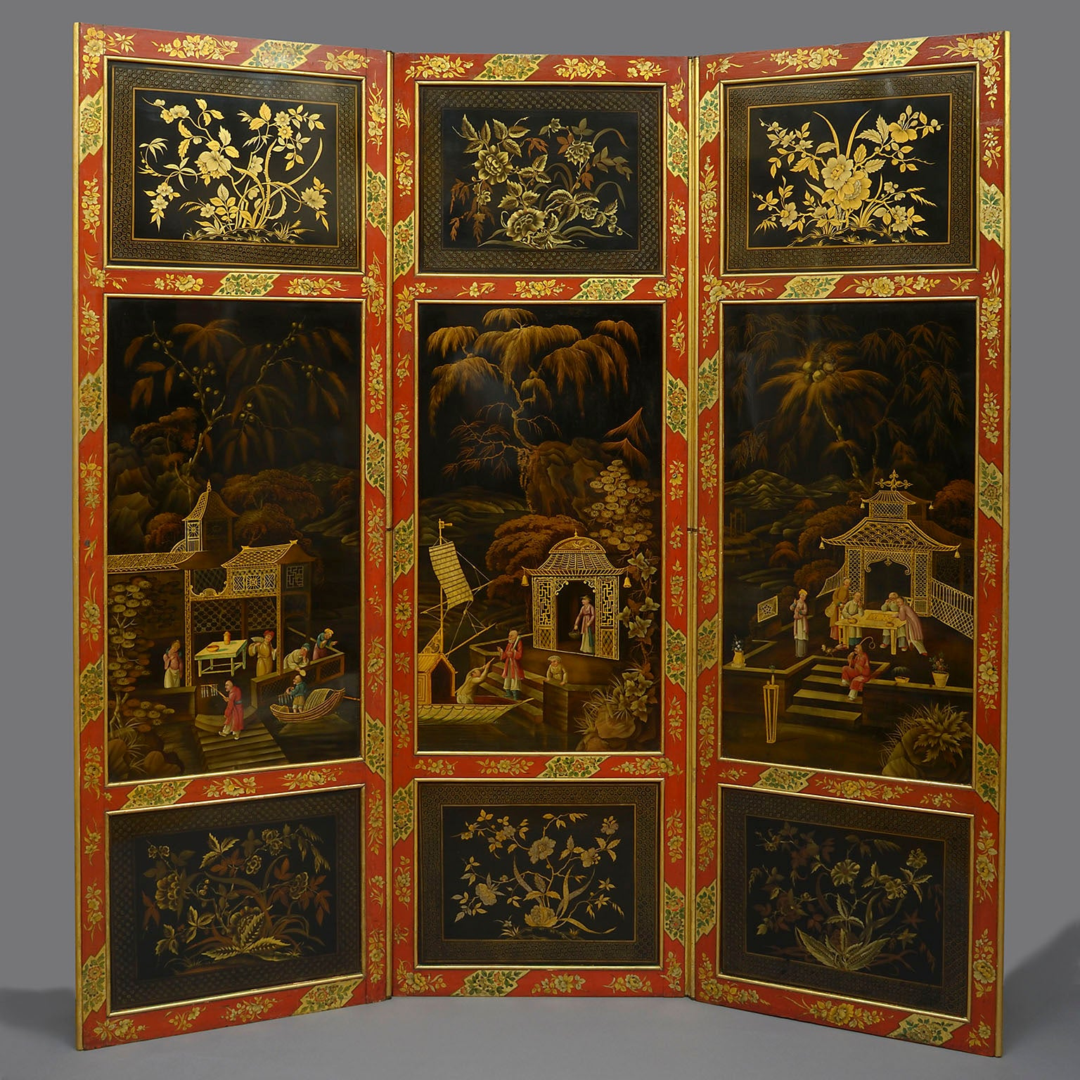 George III Pontypool Polychrome Tole Screen