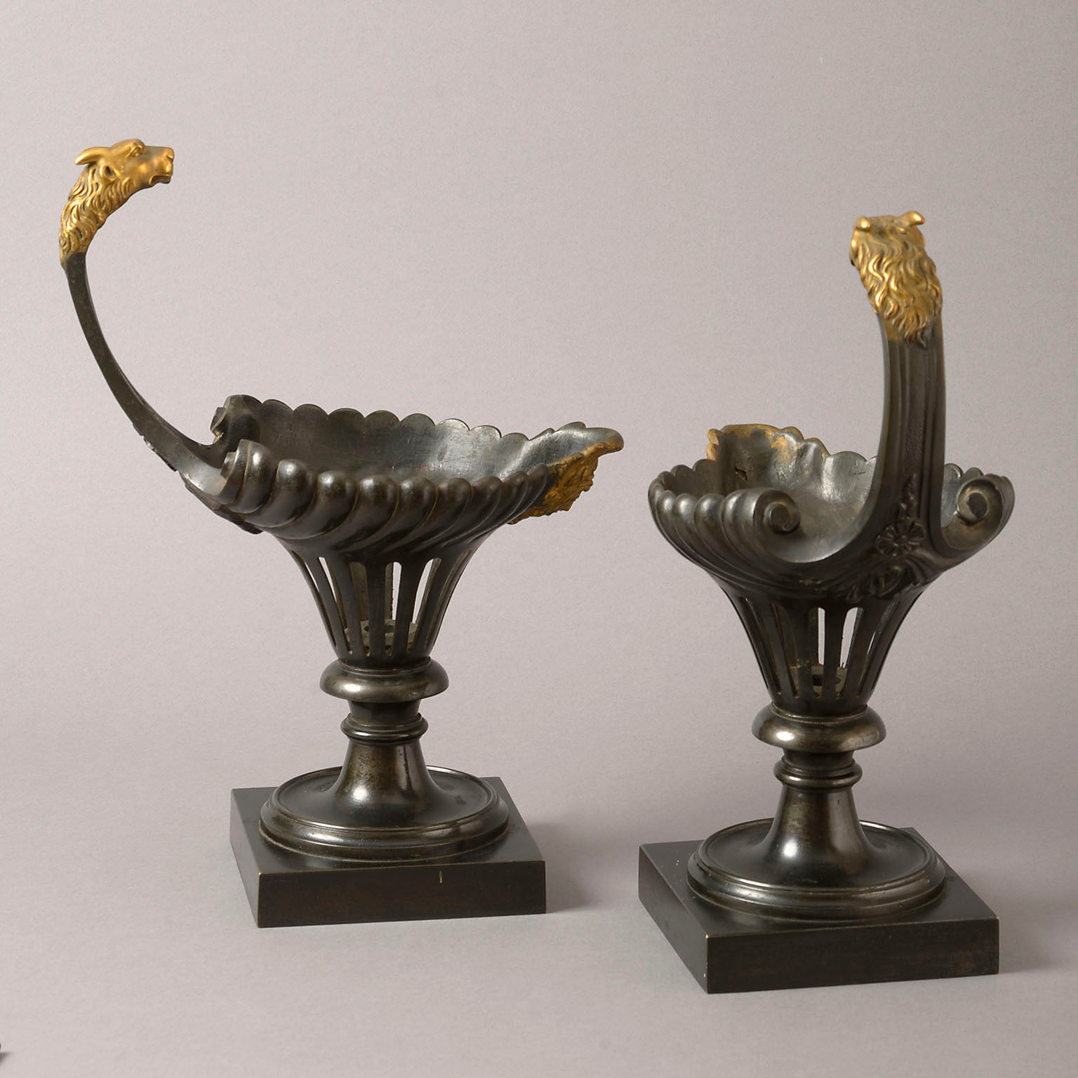 Pair of Bronze and Gilt Ewer Shaped Oil Lamps
