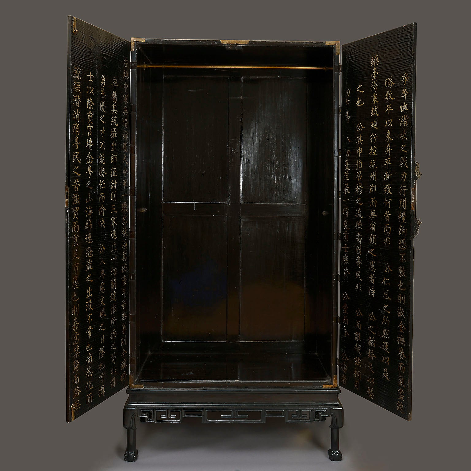 European Lacquer Cabinet on Stand with Kangxi Panels
