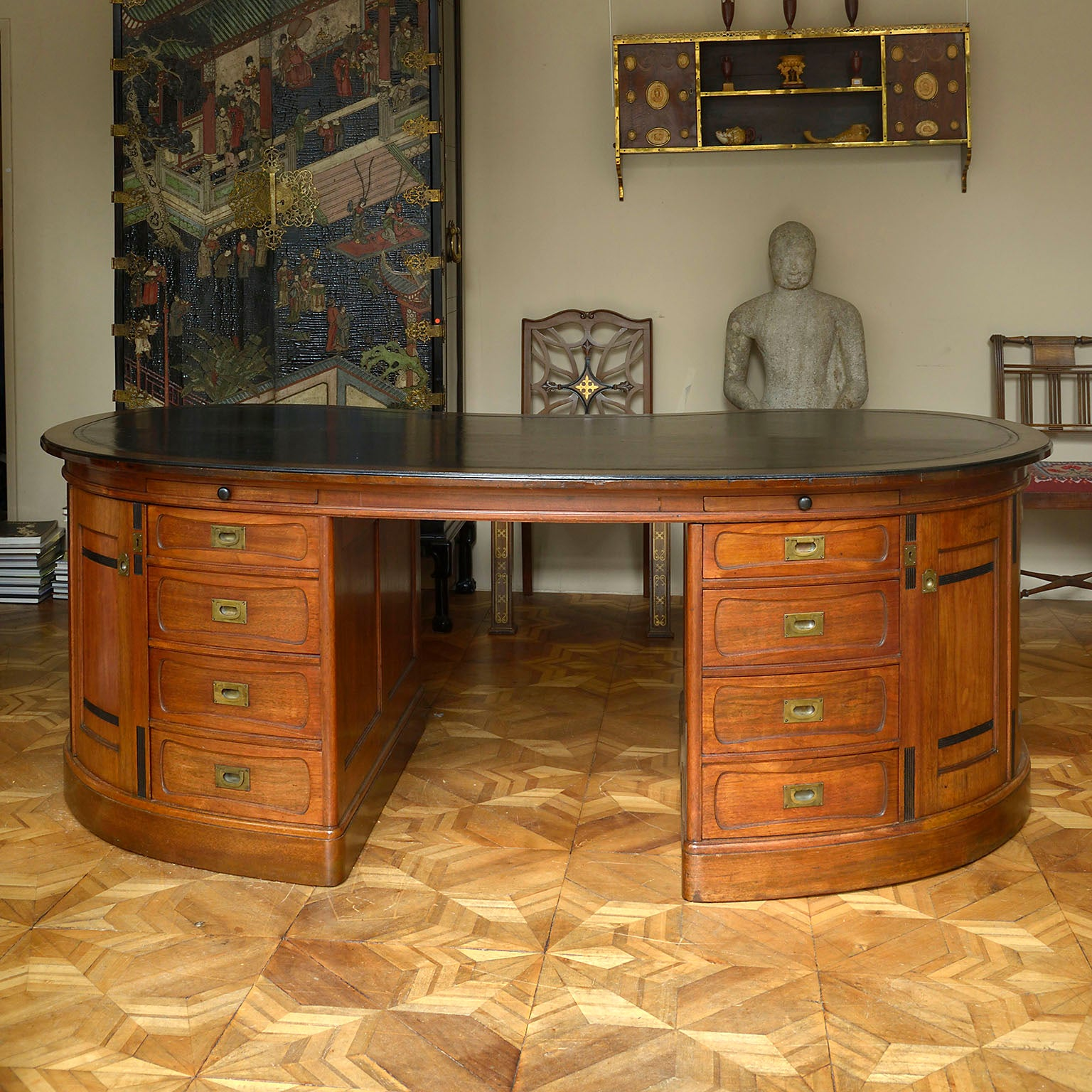 Walnut Kidney Shaped Library Desk by Julius Koenigsberger