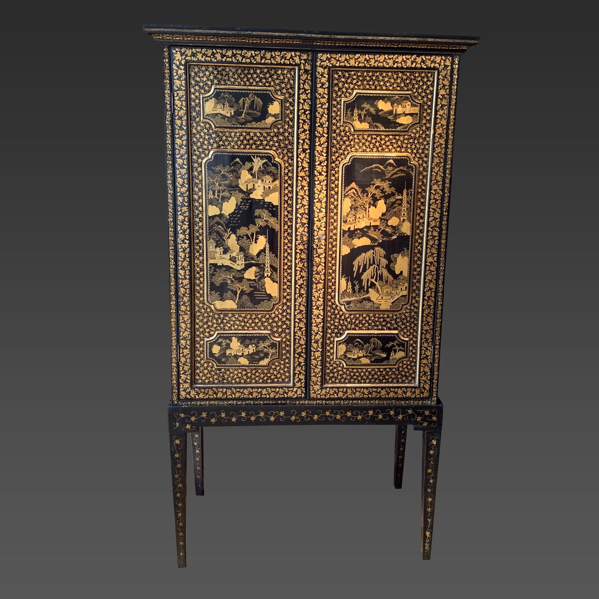 Chinese Export Lacquer Cabinet on Stand