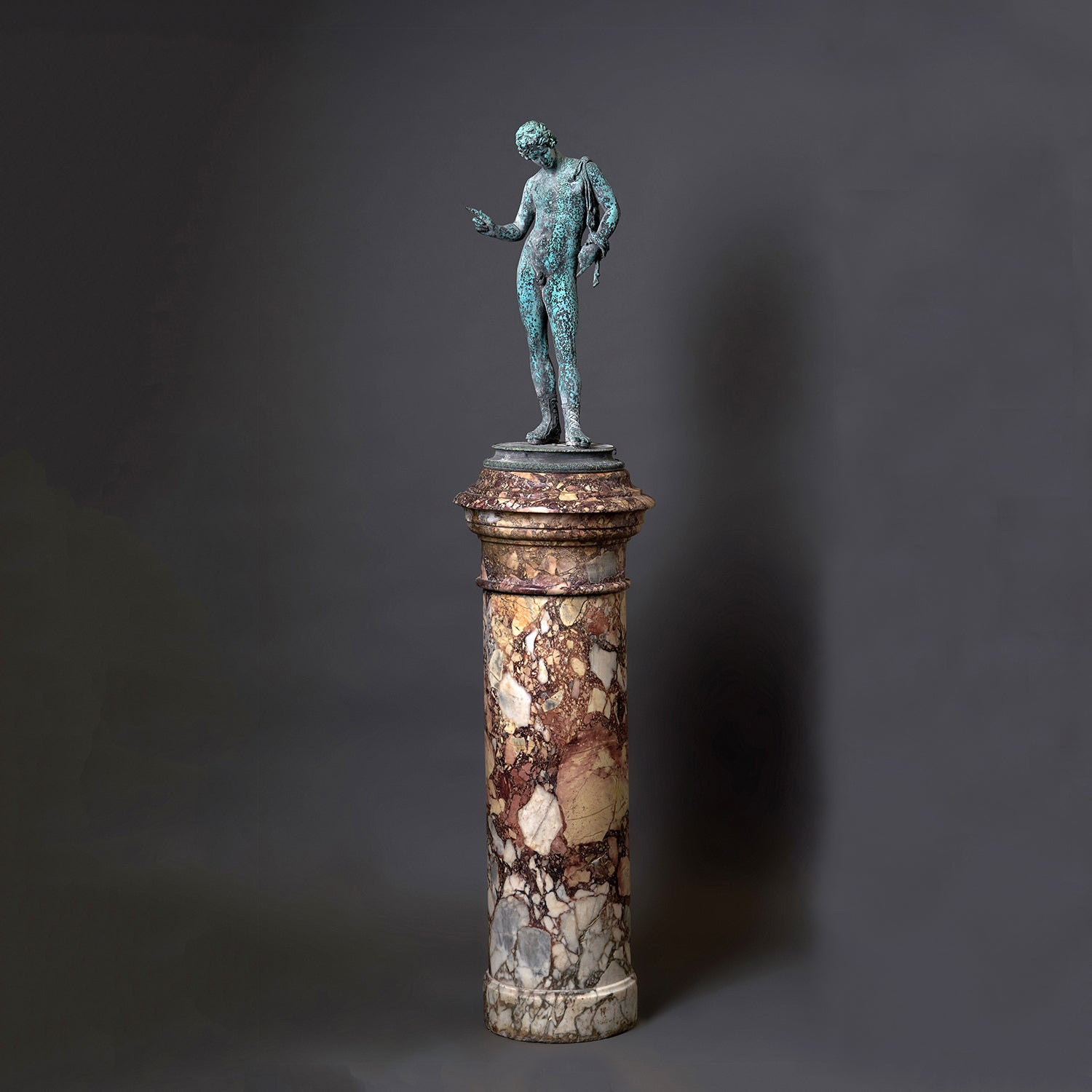 Figured Breccia Serravezza Marble Column with Revolving Top