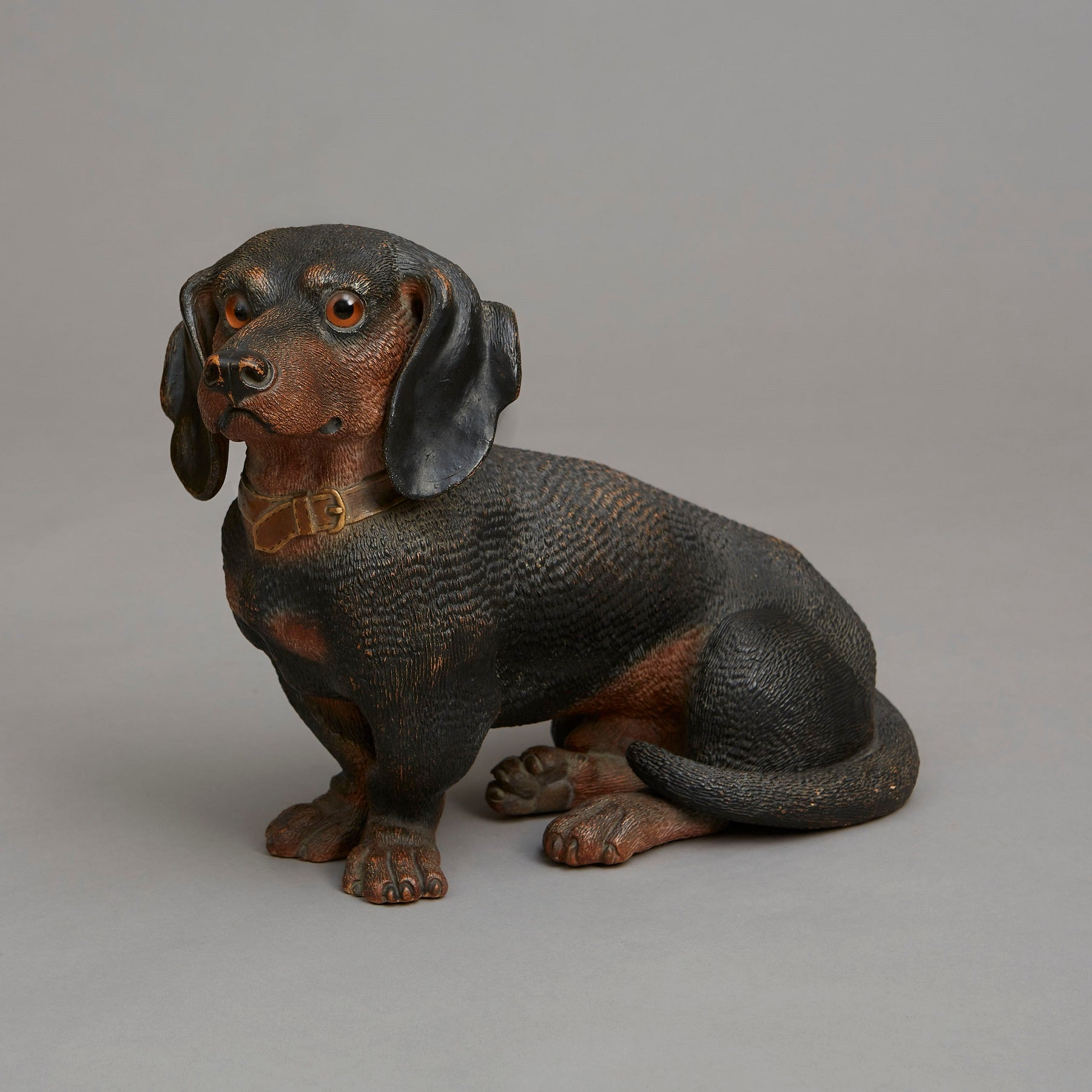 Pair of Near Life Size Seated Dachshunds
