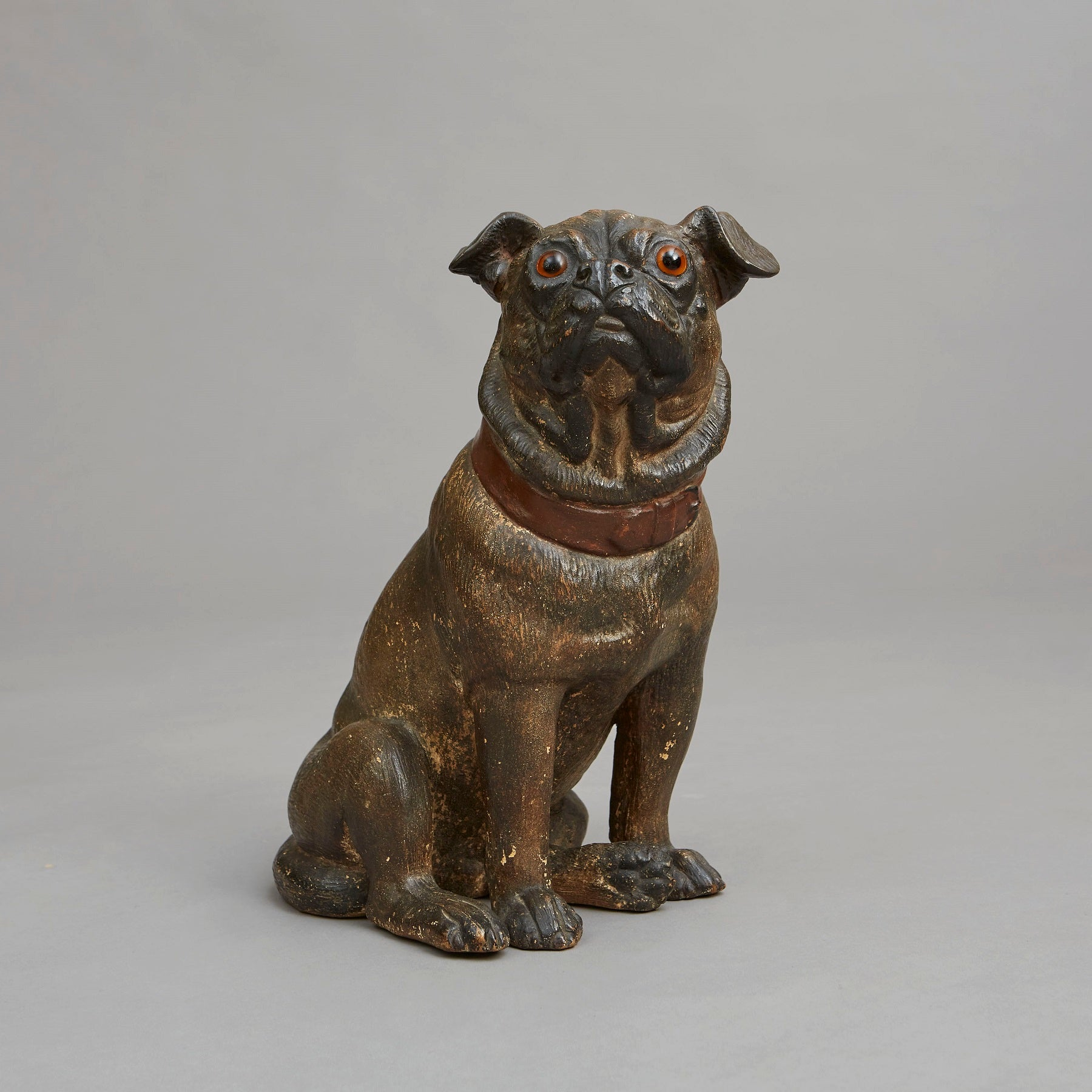 Seated Cold Painted Terracotta Pug