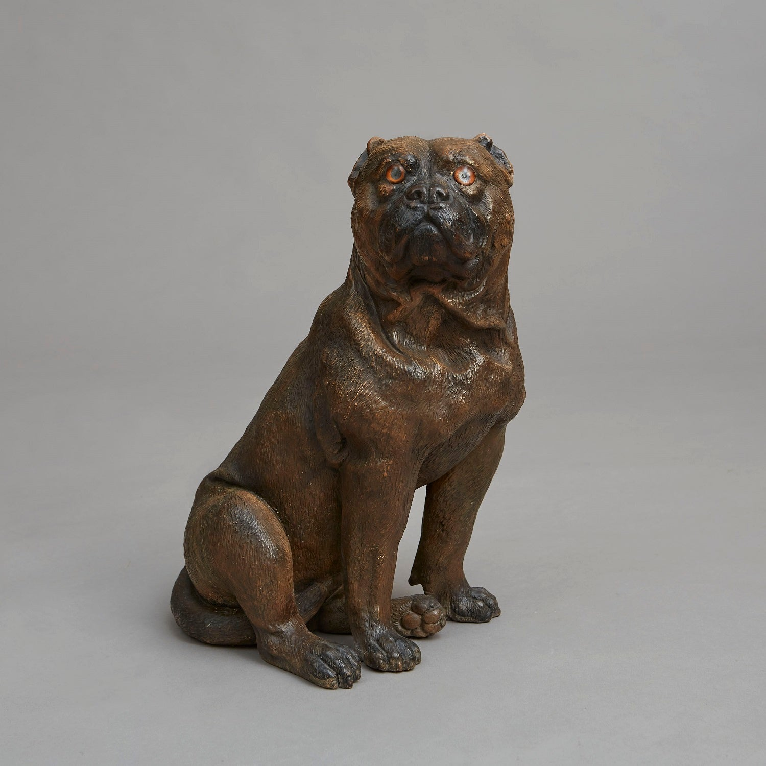 Cold Painted Terracotta Seated Boxer