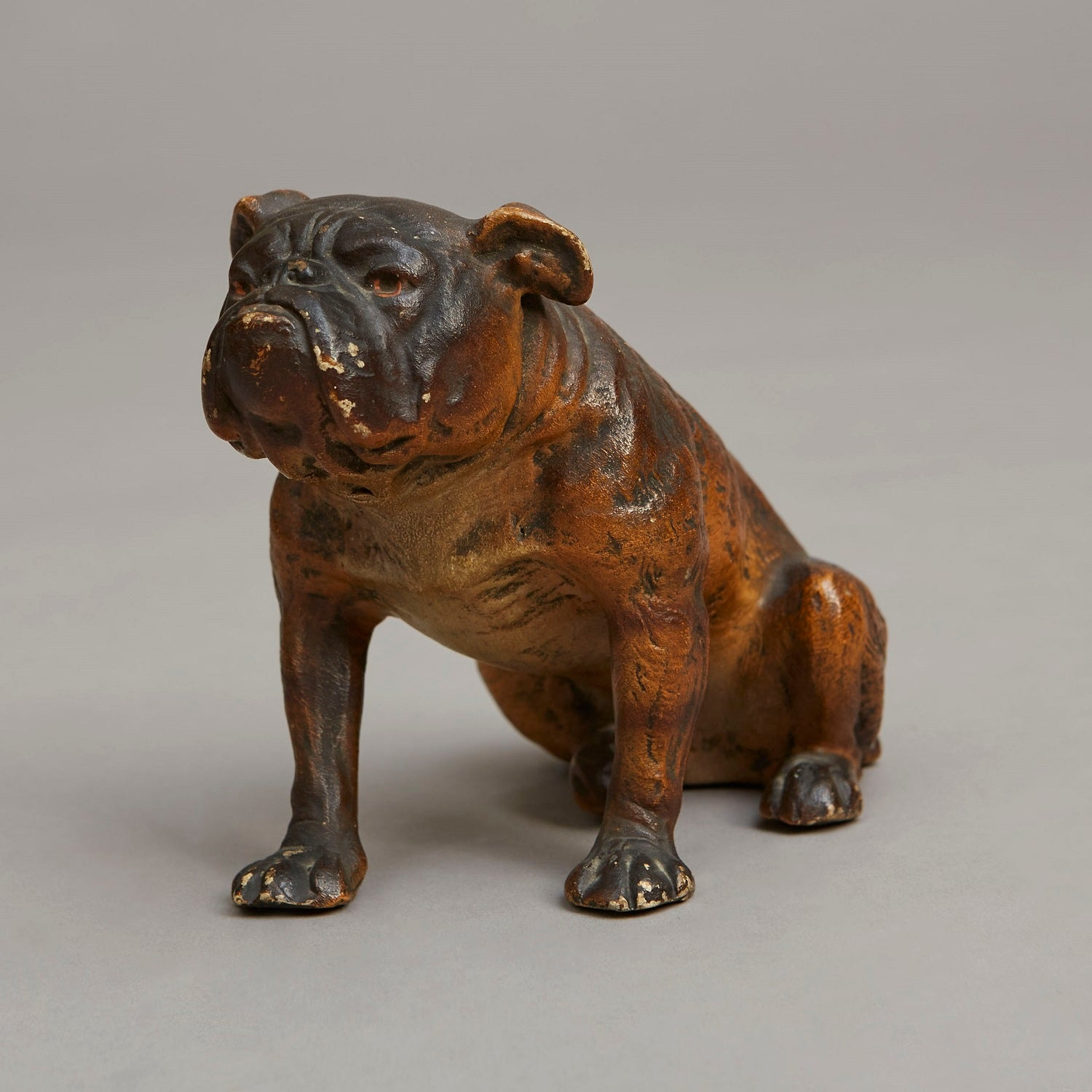 Seated Cold Painted Terracotta Bulldog
