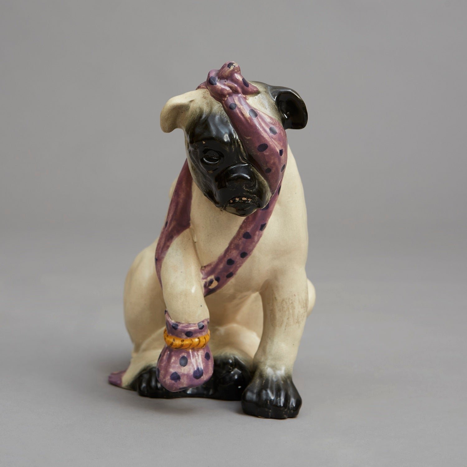 A Bretby Porcelain Seated Pug