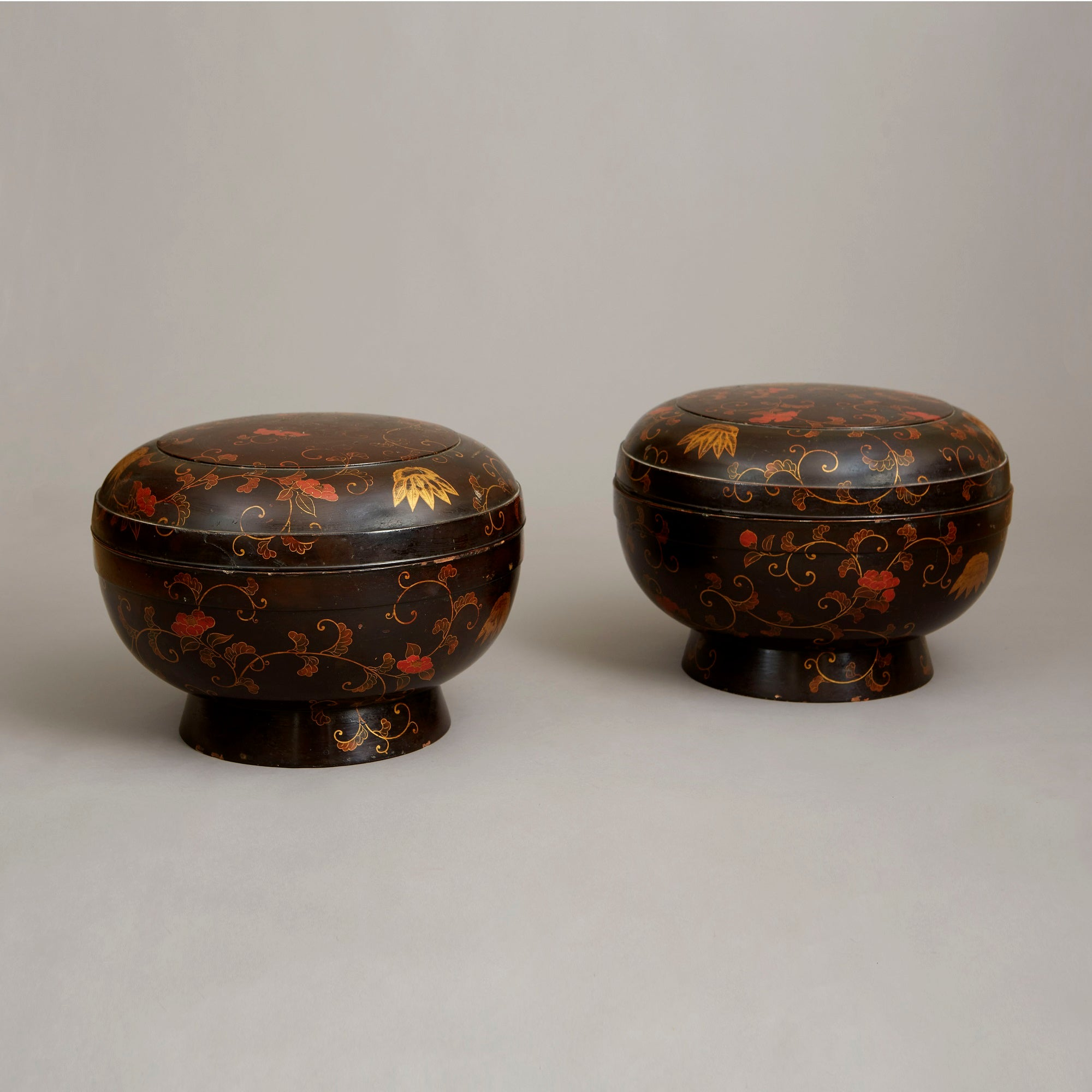Pair of Large Circular Lacquer Boxes