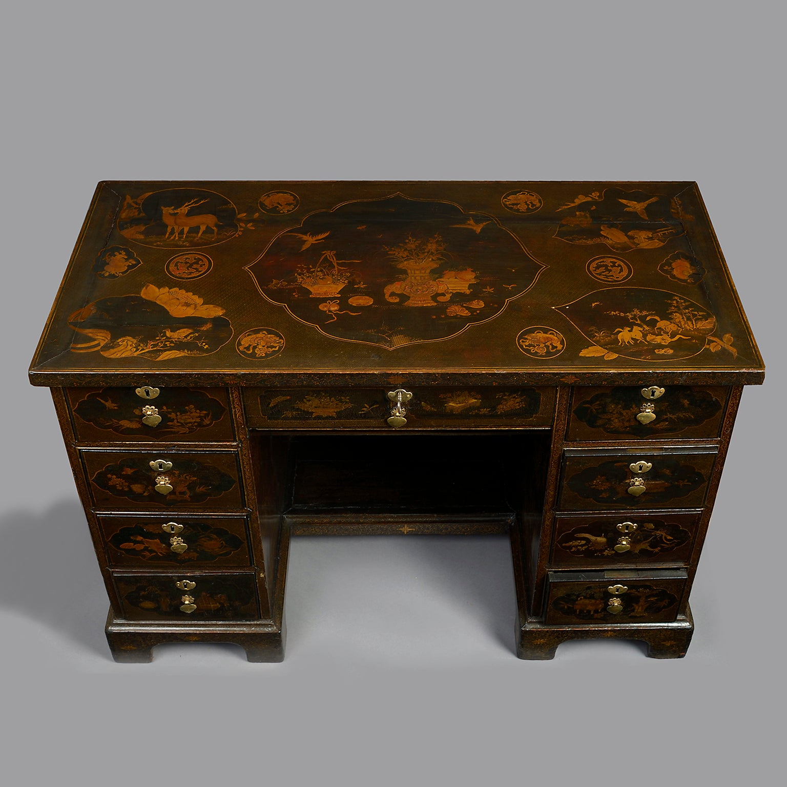 Chinese Export Lacquer Kneehole Desk or Dressing Table