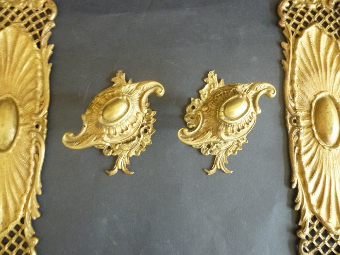 Pair of Rococo Revival Door Knobs and Door Plates (2460)