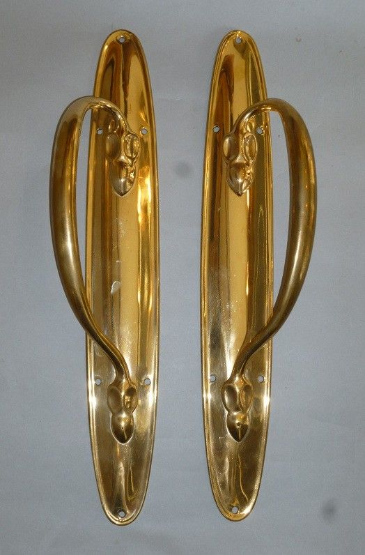 Pair of Art Nouveau Long Door Pulls  (930)