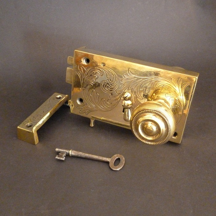 Georgian Engraved Rim Lock   (2986)