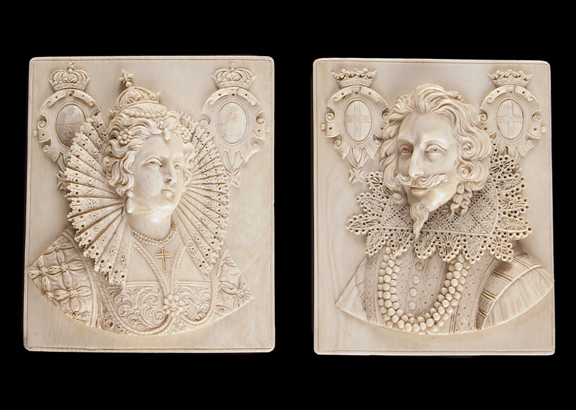A Pair of Carved Ivory Portrait Reliefs