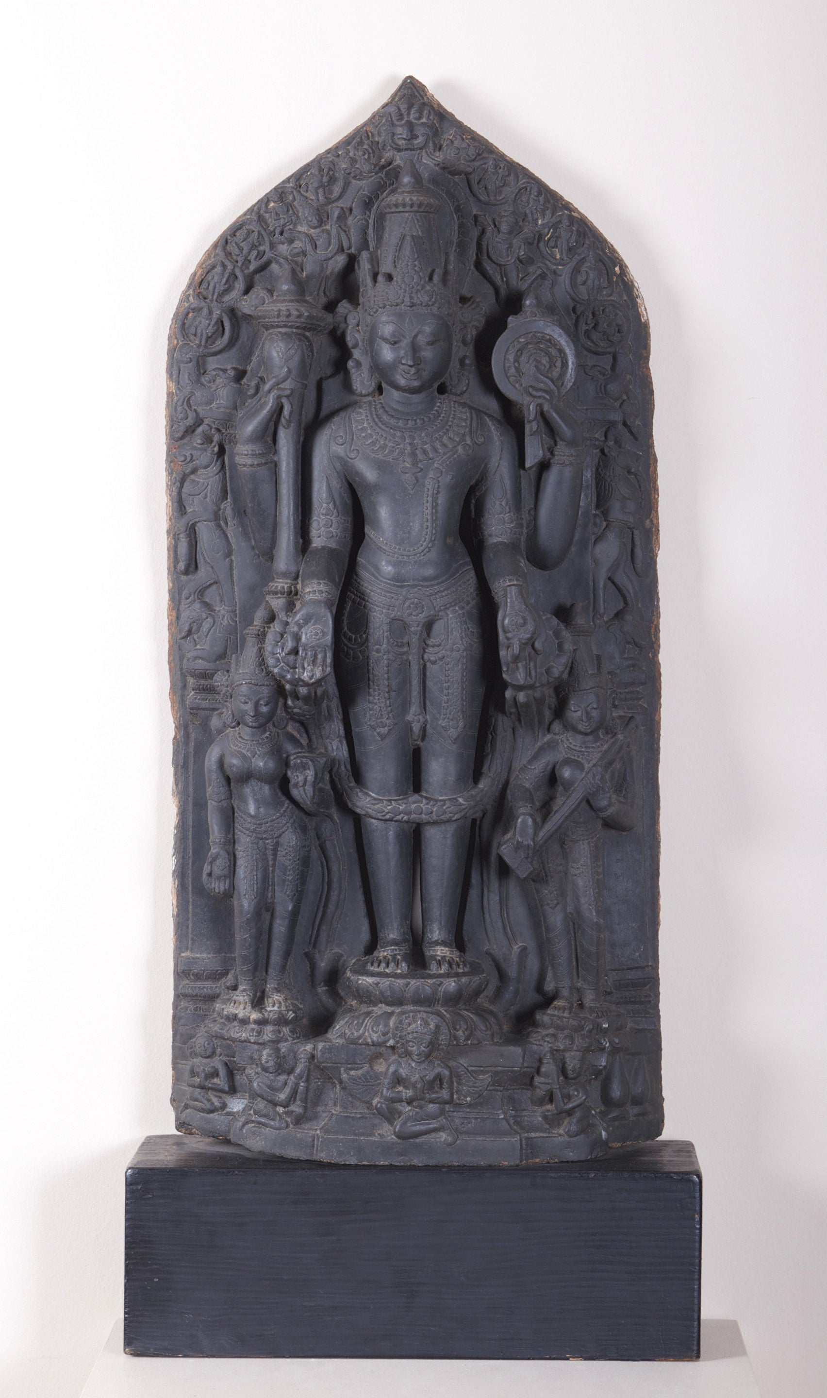 CARVED BLACK BASALT STELE OF VISHNU,    North Eastern India, Pala Period.  11th or 12th Century