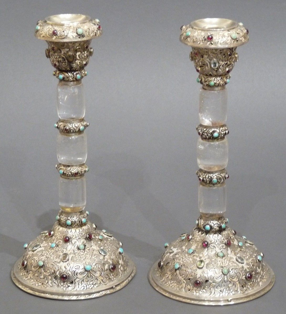 A Pair of Silver-Mounted & Gem Set Rock Crystal Candlesticks