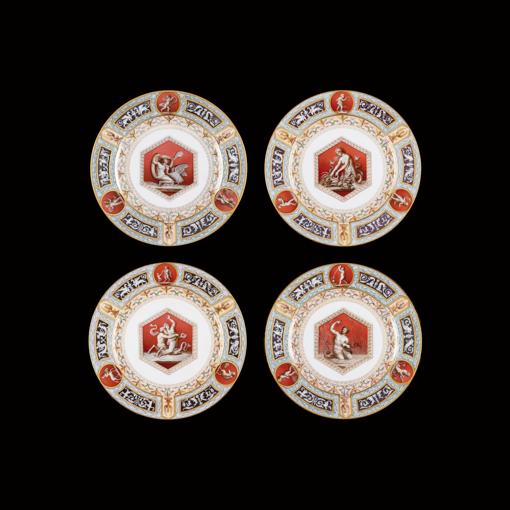 Four Imperial Russian Plates from The Raphael Dinner Service