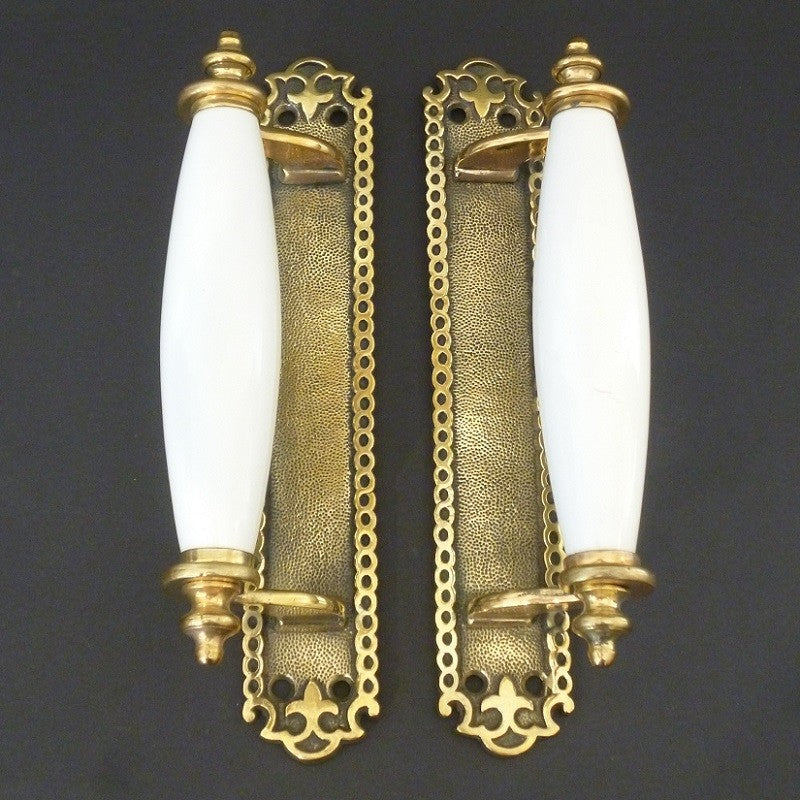 Pair of brass and porcelain Door Pulls (1127)