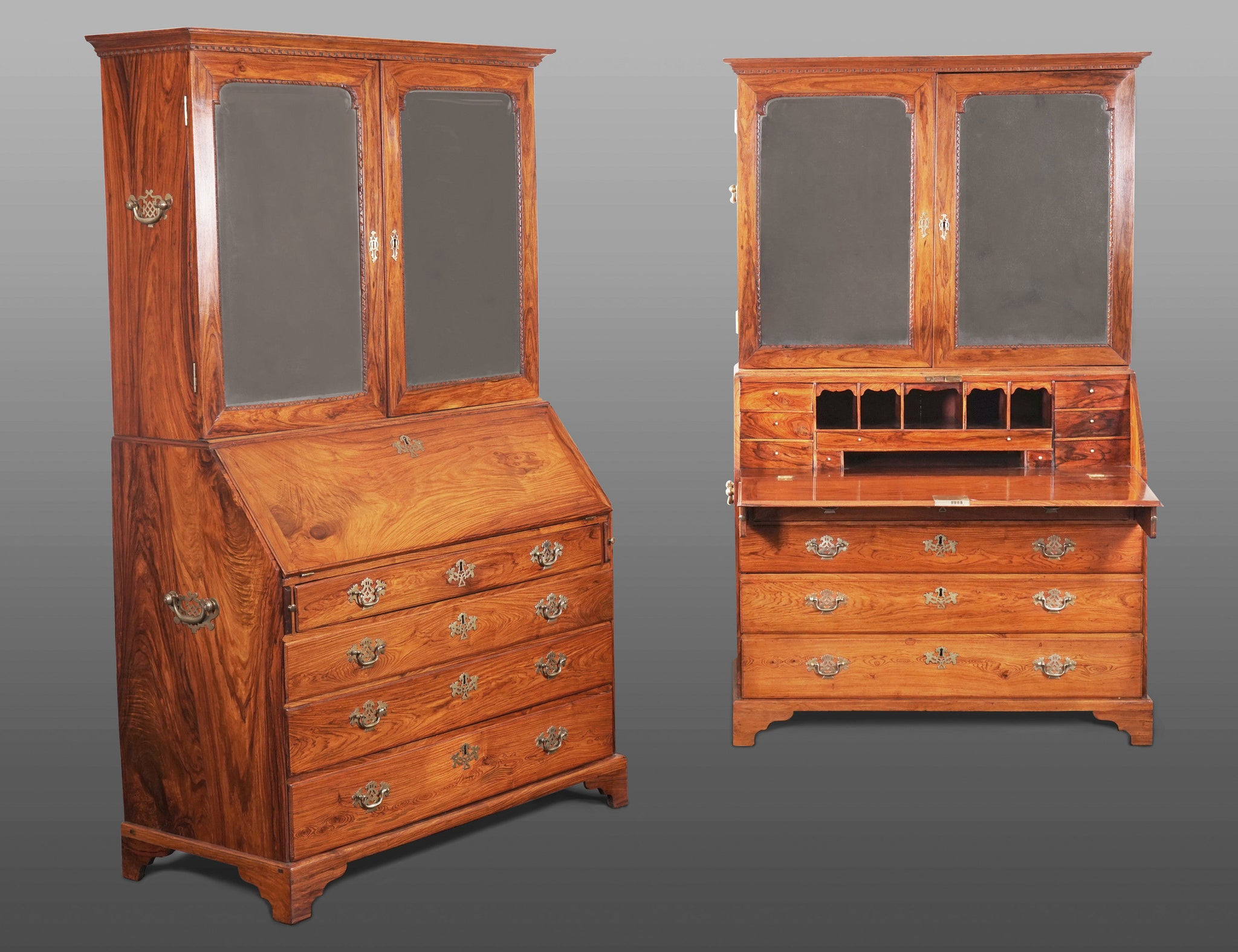 A Unique Pair of Chinese Qianlong Period Huanghuali Bureau Cabinets