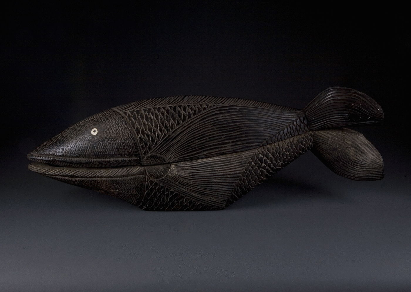 15.  An Ebony Casket Carved In The Form Of A Fish