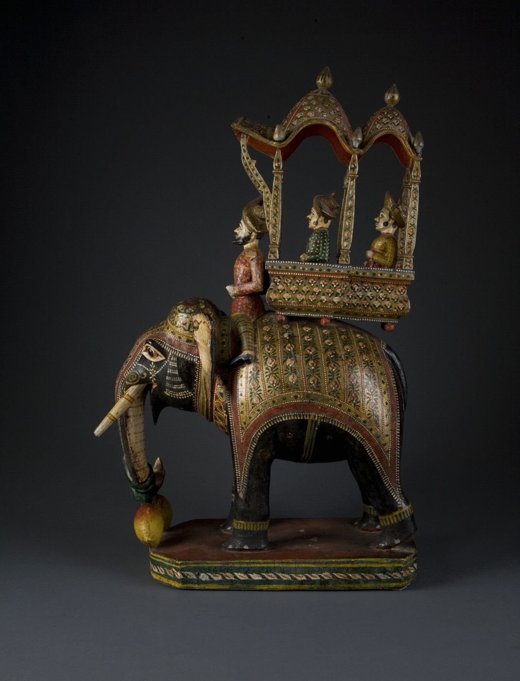 17.  A Polychrome Carved Wood Elephant With Mahout