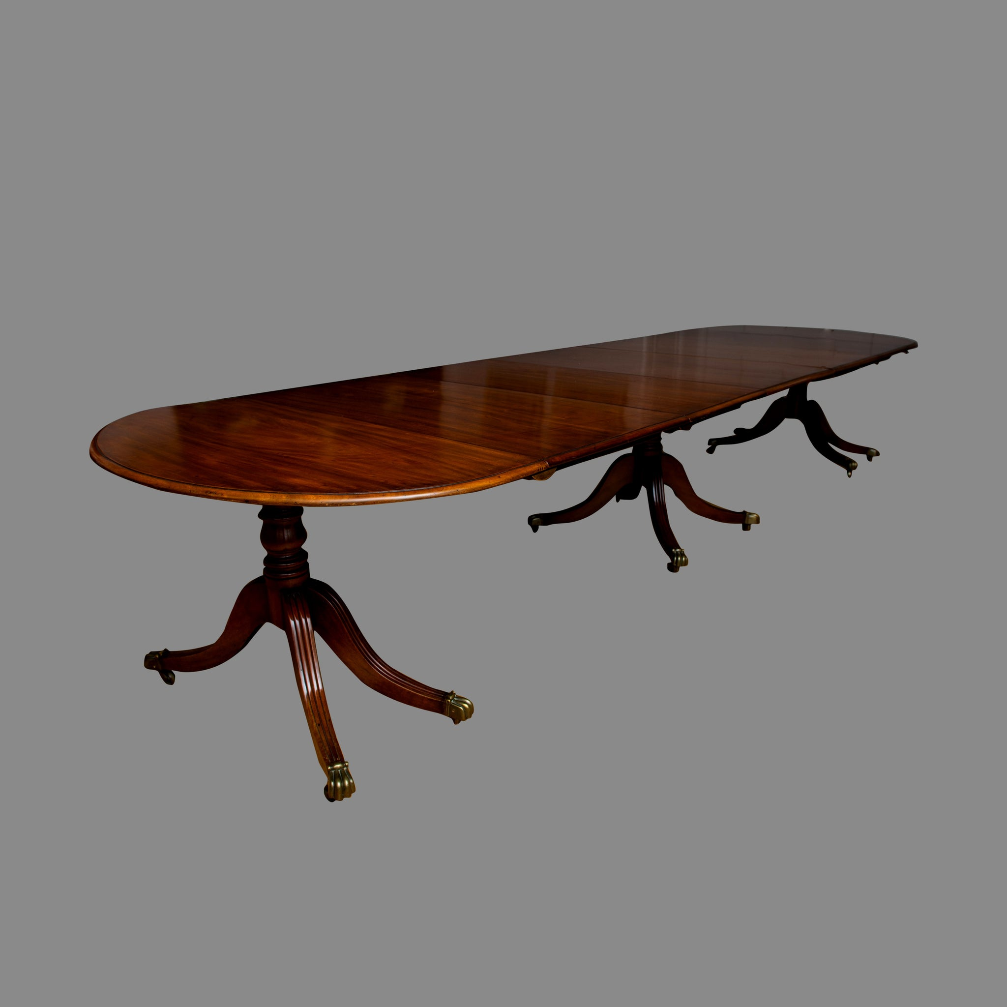 Regency Mahogany Three Pillar Dining Table