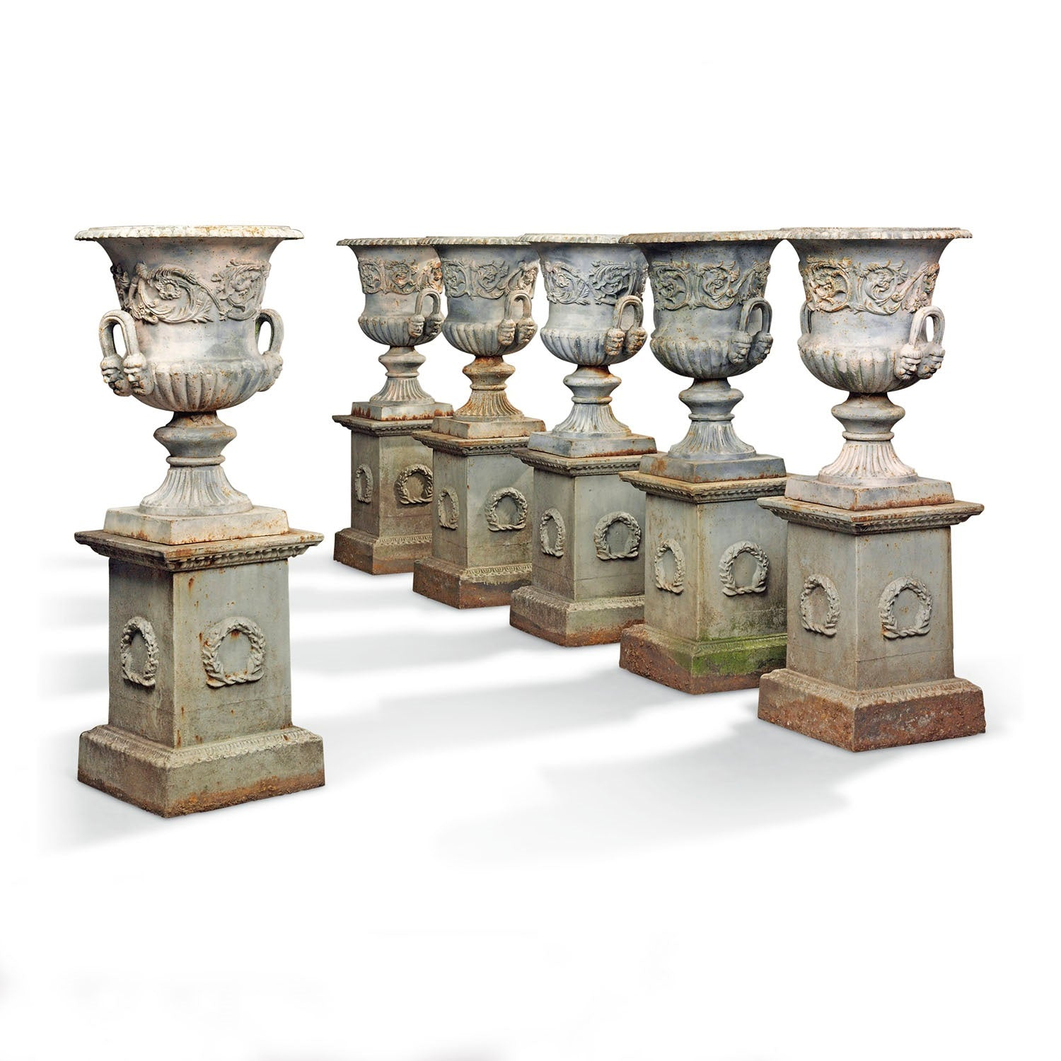 Set of Ten Cast Iron Garden Urns
