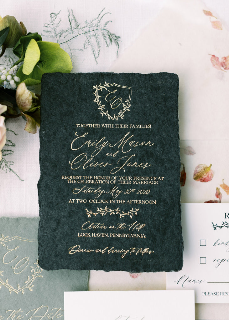 Black handmade paper with Gold Foil Luxury Wedding Invitation