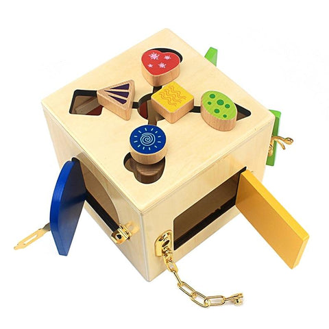 Wooden Shapes Latches and Locks Box - Toys Free Delivery