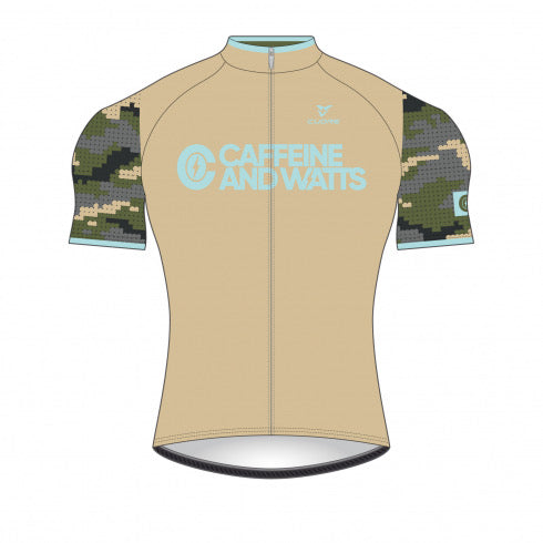 Caffeine & Watts Men's Cycling Jersey (Camo)