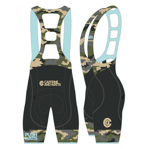 Caffeine & Watts Women's Cycling Bibs (Camo)
