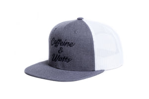 Caffeine and Watts Flat Brim Trucker