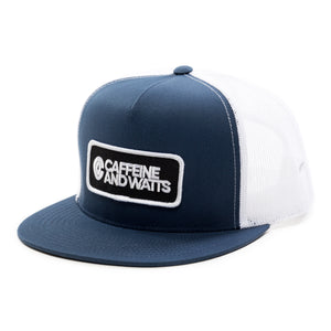 Caffeine & Watts Blue and White Flat Brim