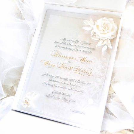 All white floral wedding invitation