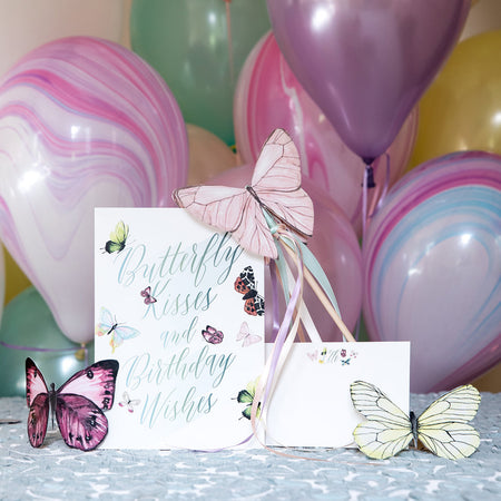 Watercolor Butterflies for Elle's 2nd Birthday Invitation Design